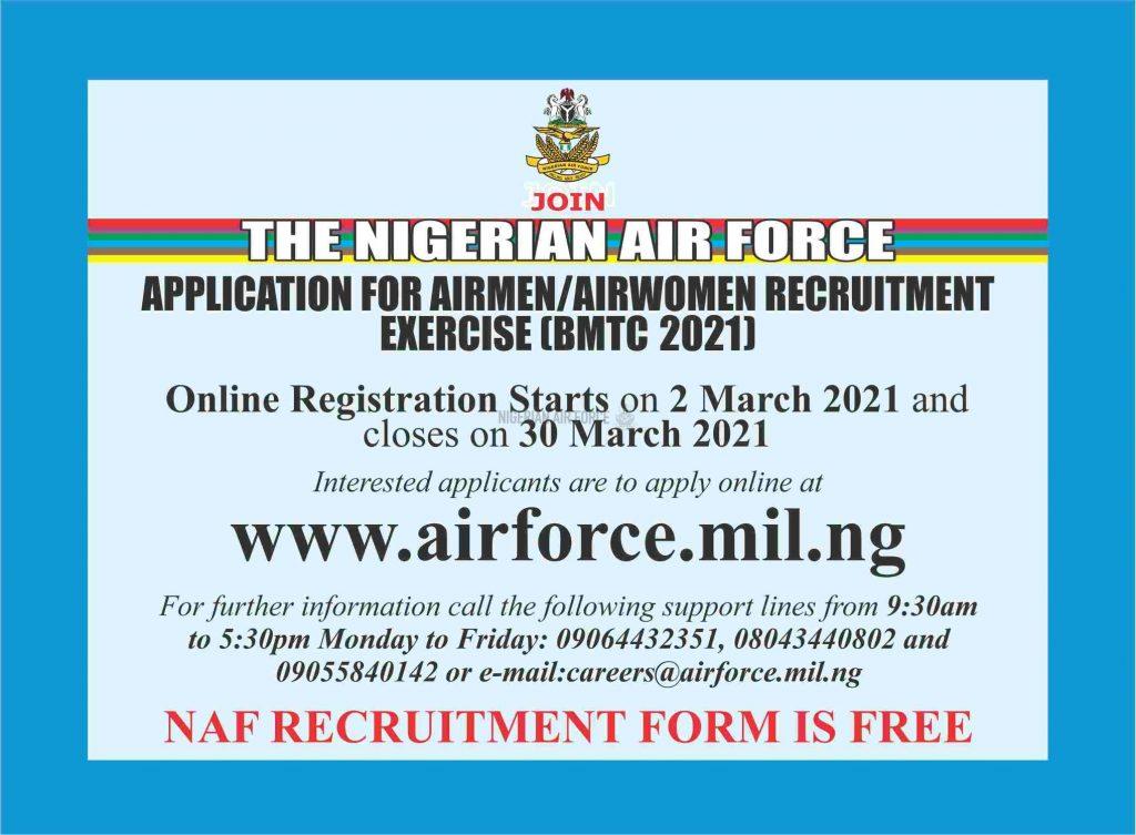 NAF Airmen/Airwomen Recruitment exercise (BMTC) 2021